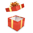 Red and gold gift box opens