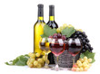 bottles and glasses of wine and grapes in basket, isolated