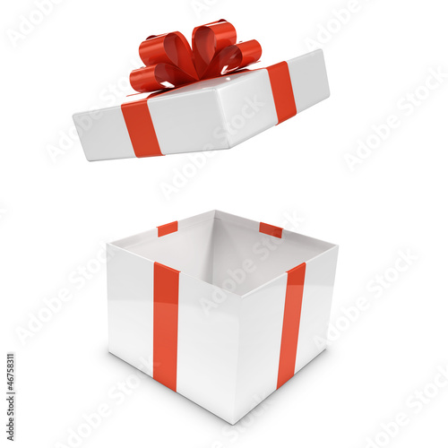 White and red gift box opens