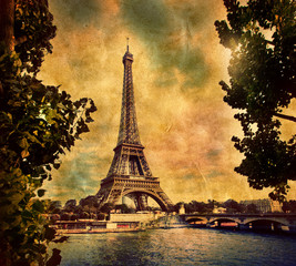 Eiffel Tower in Paris, Fance in retro style. Seine river