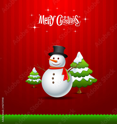 Merry Christmas Snowman and green tree, vector