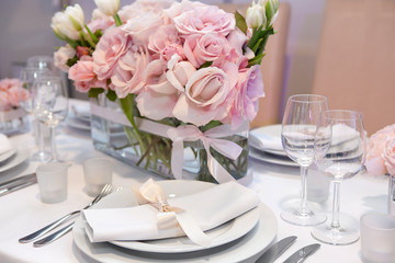 Detail of an elegant dinner setting