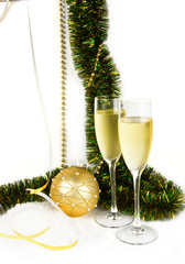 Christmas composition with champagne and ball