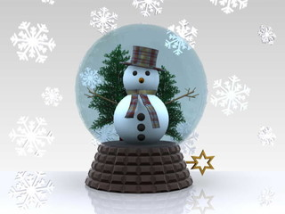 Glass ball with snowman and snowflakes - 3D