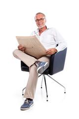 Casual senior man loking for stock rates