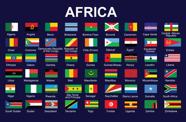 set of accurate flags of Africa vector illustration