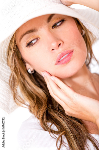 Beautiful woman wearing  sunhat