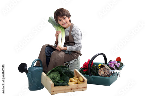 Child with vegetables and shower