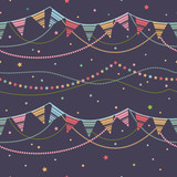 Party Pennant Bunting. Party Seamless Background