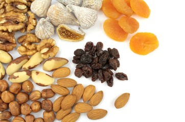 Various nuts and dried fruits