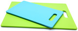 Stack of Blue and Green Silicone Cutting Boards over white.