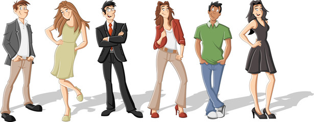 Group of six cartoon business people