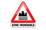 Panneau attention zone inondable