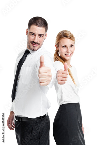 Happy Casual Business Couple Doing an OK Sign