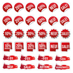 Rabatt Sticker - Reduziert - Neu - Sale / Rot