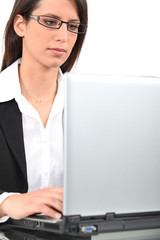 Businesswoman on laptop