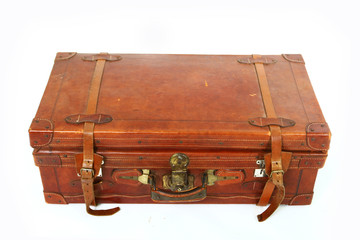 Old big brown suitcase