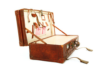 Open old brown suitcase