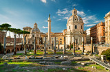 Trajan's Column in the  forum of Trajan in Rome, Italy