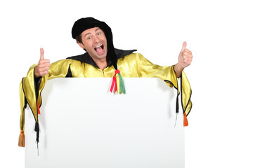 man dressed as a harlequin