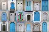 Horizontal collage of doors in Tunesia