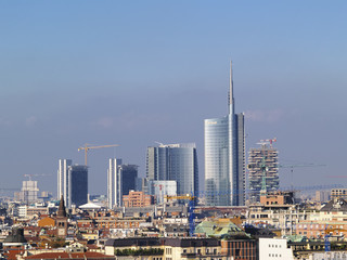 Milan, cityscape from cathedral's roof, Lombardy, Italy