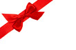 rote Schleife mit Band diagonal
