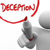 Deception Man Writing Word Lying Dishonesty Insincerity