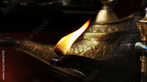 Magical Lamp of Aladdin. Arabic Oil Lamp