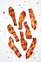 Strips of Bacon Displayed on White