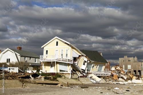 Leinwanddruck Bild Hurricane Sandy desrtruction