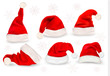 Big collection of red santa hats. Vector. - 46768796