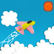 Clay jet fighter on bluesky with sun and cloud