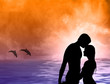 Loving couple at sea