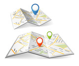 Fototapety Folded maps with color point markers