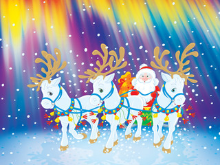 Santa carries Christmas gifts