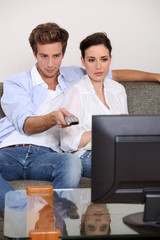 Couple in front of the TV