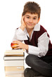 Smart student boy with books