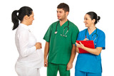 Pregnant woman discussion with doctors