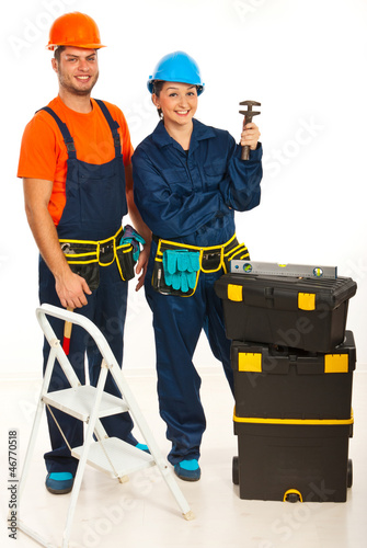 Happy team of plumbers
