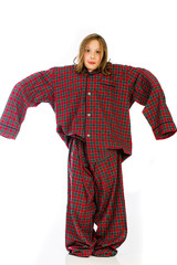 Child wearing extra large pajamas