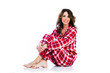 Pretty woman in flannel pajamas