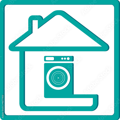 icon with washing machine and house silhouette
