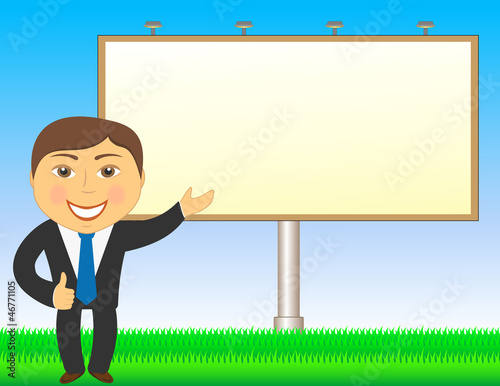 cartoon businessman showing on billboard and grass