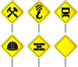set isolated attention construction sign for road