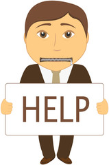 cartoon sad man with mouth closed with a zipper asks for help