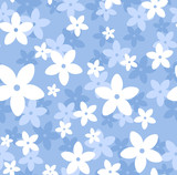 Vector seamless pattern with white and blue flowers. - 46771724