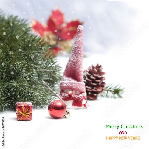 Christmas background with snowman and red decoration