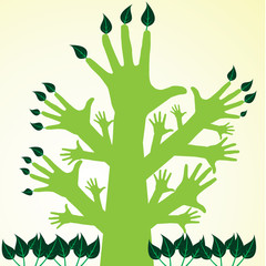 Hand tree and green leaf  Save the world concept
