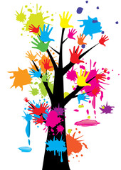 Hand tree colorful vector illustration